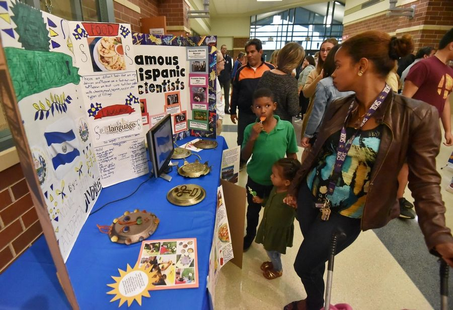 Students worked on research projects to display Thursday at the Gurnee School District 56 Hispanic Heritage Celebration at Prairie Trail School in Wadsworth.