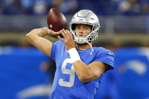 Detroit Lions quarterback Matthew Stafford throws during pregame of an NFL football game against the Kansas City Chiefs, Sunday, Sept. 29, 2019, in Detroit.