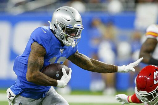Detroit Lions wide receiver Kenny Golladay rushes during the first half of an NFL football game against the Kansas City Chiefs, Sunday, Sept. 29, 2019, in Detroit.