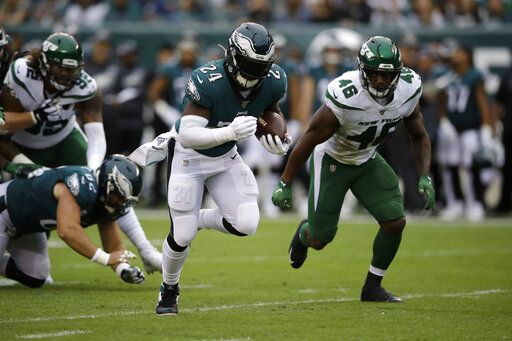 Philadelphia Eagles' Jordan Howard rushes during the first half of an NFL football game against the New York Jets, Sunday, Oct. 6, 2019, in Philadelphia.