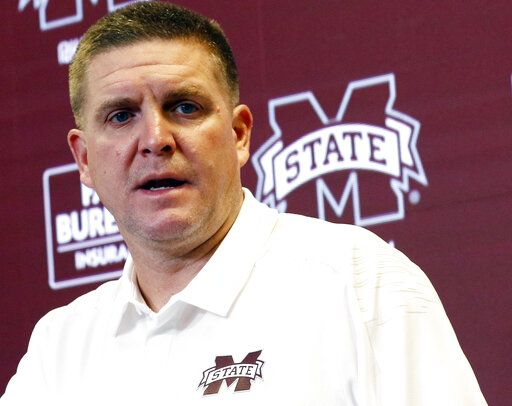 FILE - In this Aug. 11, 2018 file photo, Mississippi State football defensive coordinator Bob Shoop, talks about senior players' leadership with reporters during the Mississippi State Media Day, in Starkville, Miss. Mississippi State defensive coordinator Bob Shoop will see familiar faces Saturday, Oct. 12, 2019 when the Bulldogs visit Tennessee. Shoop was Tennessee's defensive coordinator.