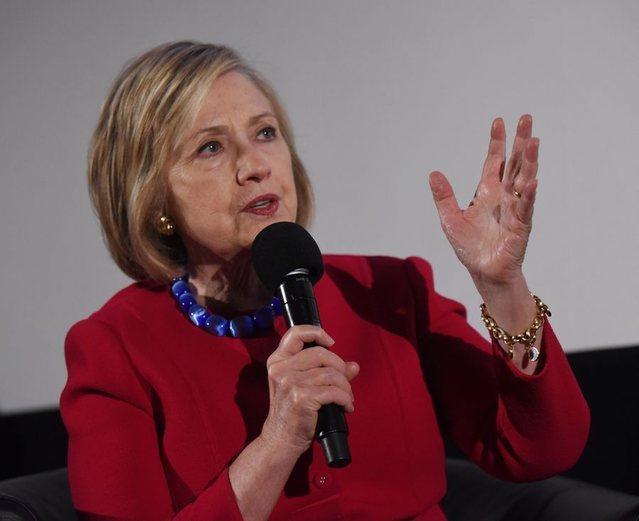 Former Secretary of State Hillary Clinton spoke Friday in her hometown of Park Ridge.