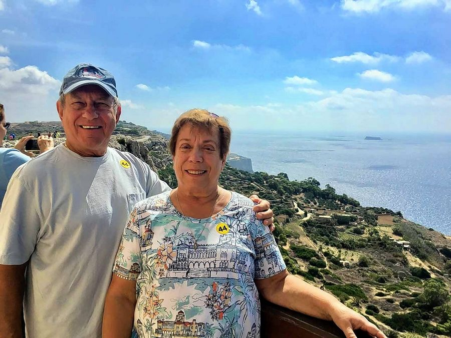 Elaine and Terry Florczak traveled to Greece to celebrate the end of Elaine's breast cancer journey.