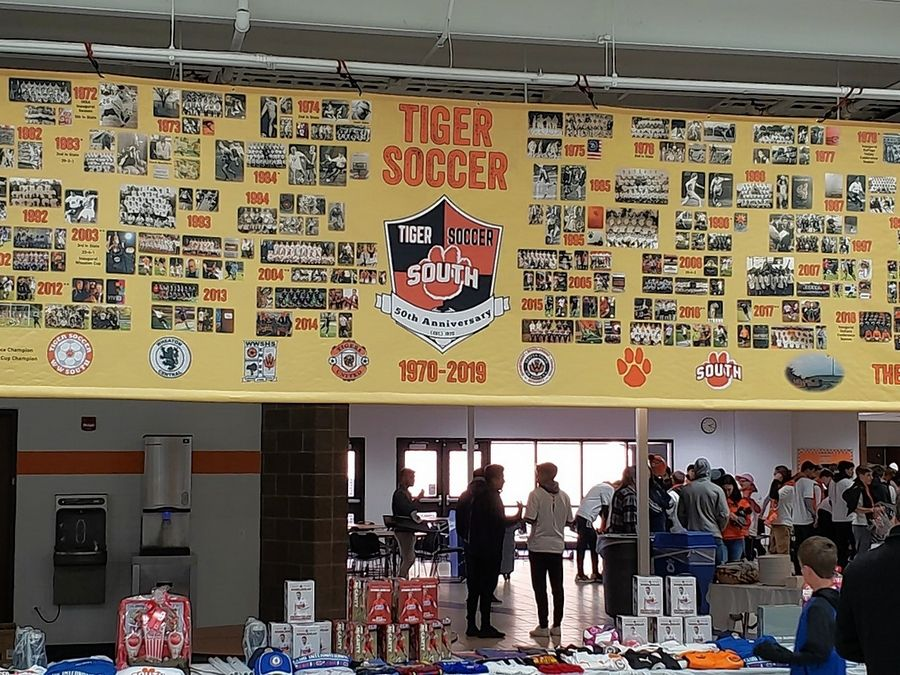 Orrin Schwarz/oschwarz@dailyherald.comThe Wheaton Warrenville South was decorated to celebrate the boys soccer program's 50th season after Saturday's game against Hoffman Estates. The game ended in a scoreless draw.