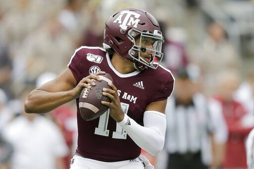 Texas A&M quarterback Kellen Mond (11) looks to pass against Alabama during the first quarter of an NCAA college football game, Saturday, Oct. 12, 2019, in College Station, Texas.