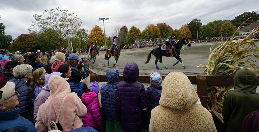 The Dare devil Riders perform Sunday during the Fall Festival at the Danada Equestrian Center in Wheaton. The fest drew hundreds to for equestrian-themed fun at the Forest Preserves of DuPage County facility.