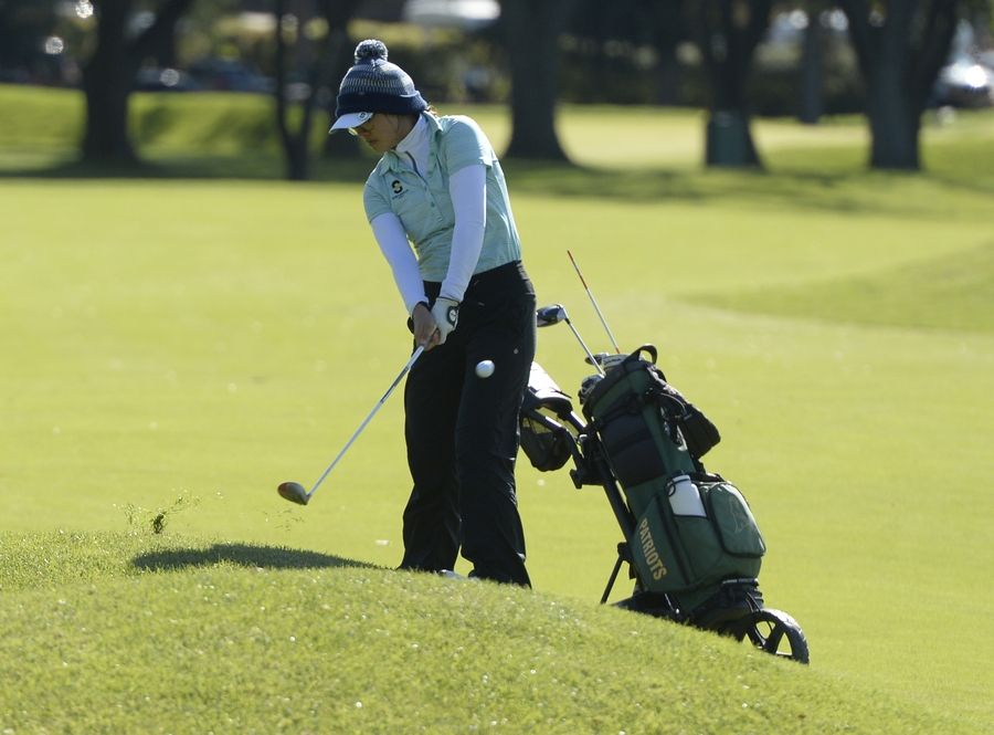 Stevenson's Sophia Zhuang chips up to hole No. 1 in the Class 2A Prospect girls golf sectional in Mount Prospect on Monday.