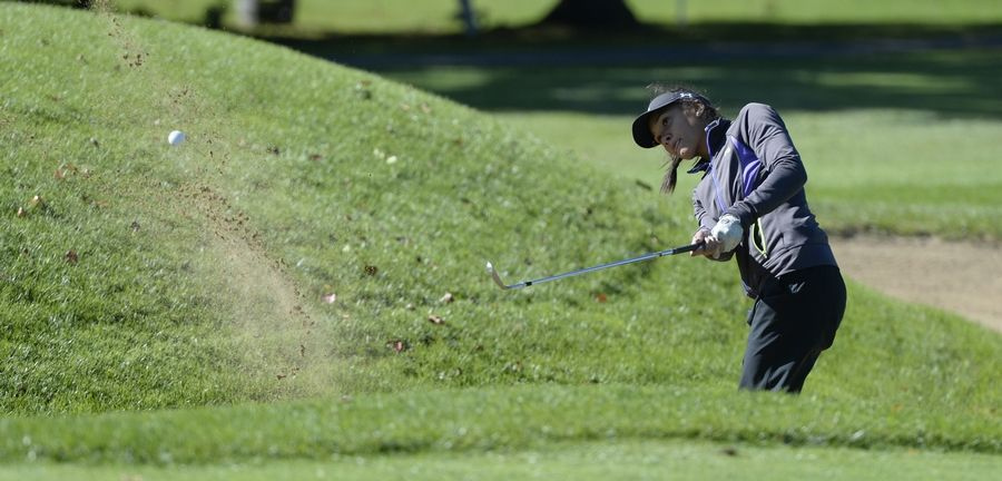 Wheeling's Symantha Rohwedder chips out of the sand on hole No. 13 in the Class 2A Prospect girls golf sectional in Mount Prospect on Monday.