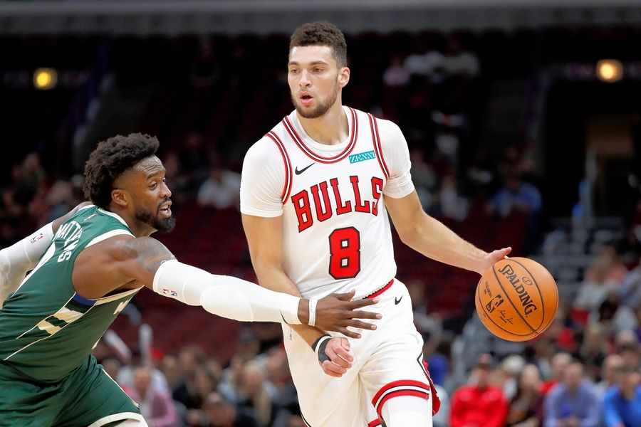 Chicago Bulls' Zach LaVine advances the ball during an NBA preseason basketball game against the Milwaukee Bucks Monday, Oct. 7, 2019, in Chicago.