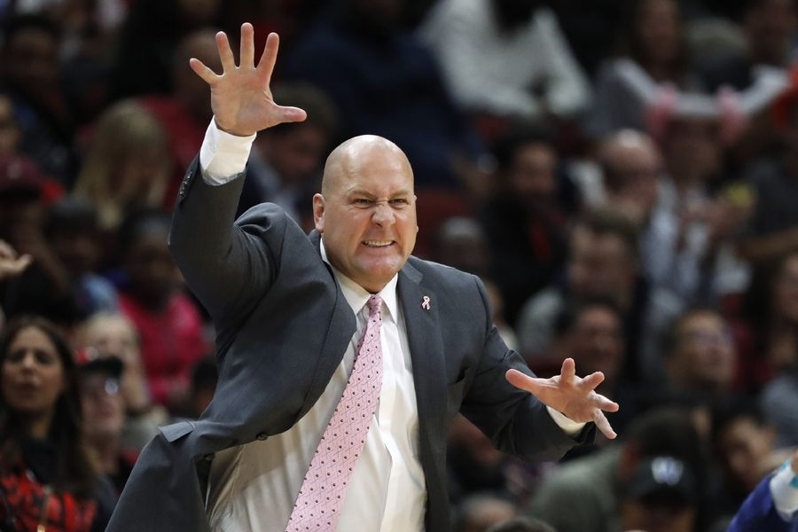 Chicago Bulls coach Jim Boylen reacts to the play of his team during the second half of an NBA preseason basketball game against the New Orleans Pelicans on Wednesday, Oct. 9, 2019, in Chicago. The Pelicans won 127-125.
