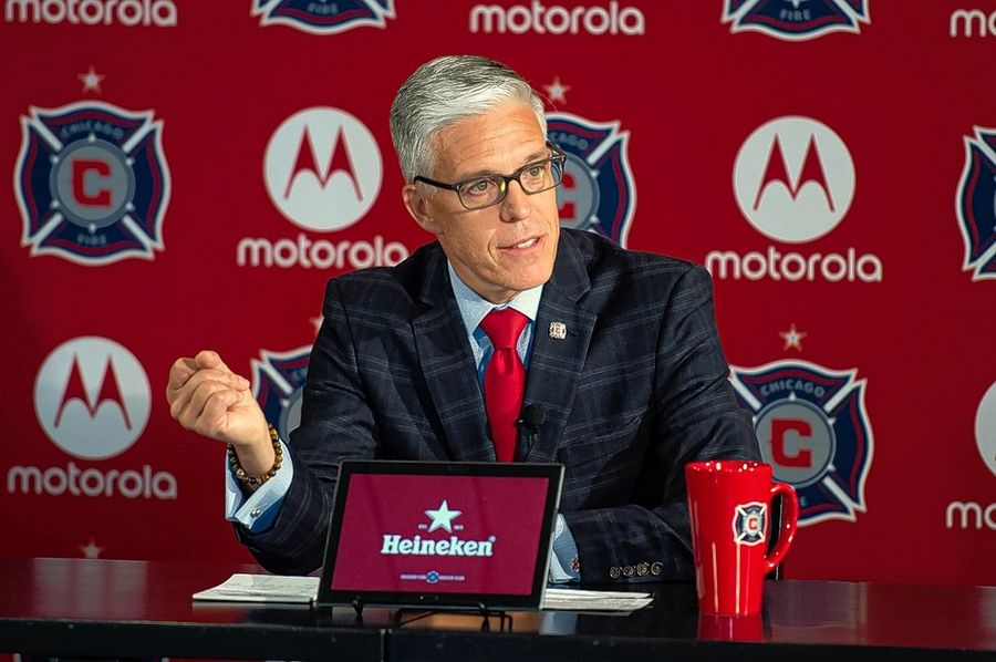 Photo courtesy Chicago Fire Soccer ClubNelson Rodriguez, president and general manager of the Chicago Fire, speaks Monday at his season-ending media roundtable.