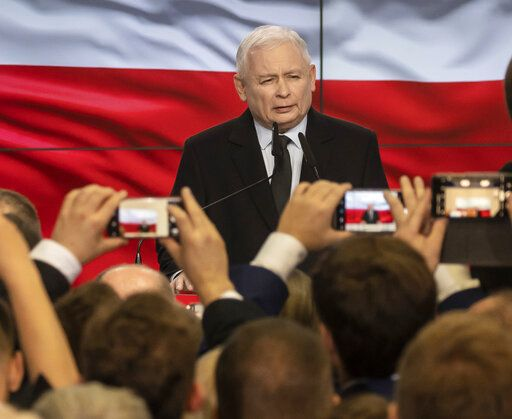 Leader of Poland's ruling party Jaroslaw Kaczynski speaks in reaction to exit poll results right after voting closed in the nation's parliamentary election that is seen crucial for the nation's course in the next four years, in Warsaw, Poland, on Sunday, Oct. 13, 2019.