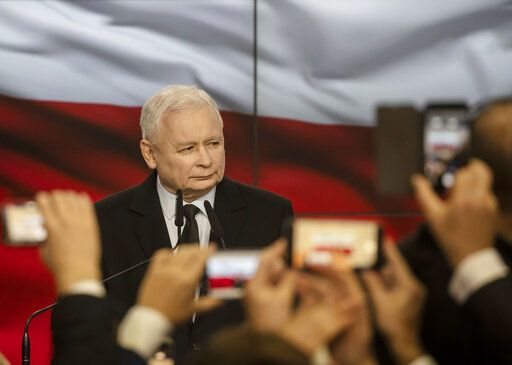 Leader of Poland's ruling party Jaroslaw Kaczynski speaks in reaction to exit poll results right after voting closed in the nation's parliamentary election that is seen crucial for the nation's course in the next four years, in Warsaw , Poland, on Sunday, Oct. 13 ,2019.