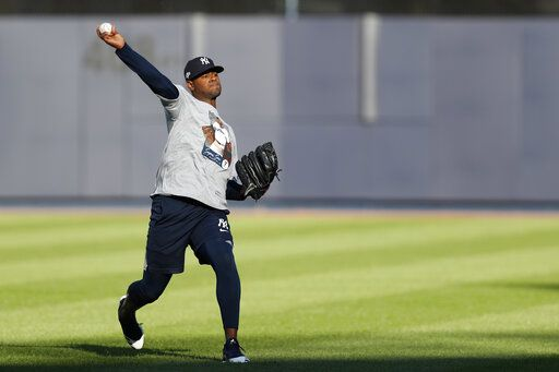 New York Yankees starting pitcher Luis Severino throws on an empty field, Monday, Oct. 14, 2019, at Yankee Stadium in New York on an off day during the American League Championship Series between the Yankees and the Houston Astros. Severino is scheduled to face Astros ace Gerrit Cole in Game 3 Tuesday afternoon in New York.
