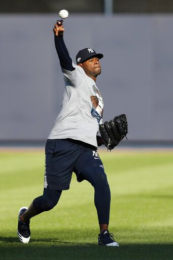 New York Yankees starting pitcher Luis Severino throws on an empty field, Monday, Oct. 14, 2019, at Yankee Stadium in New York on an off day during the American League Championship Series between the Yankees and the Houston Astros. Severino is scheduled to face Astros' ace Gerrit Cole in Game 3, scheduled for Tuesday afternoon in New York.