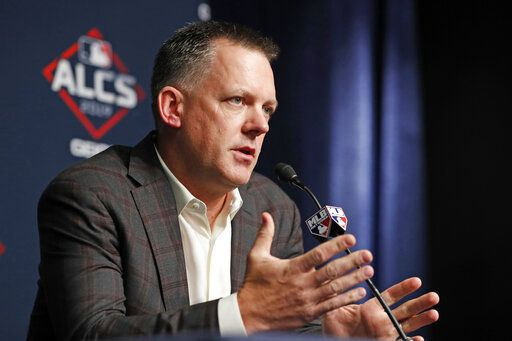 Houston Astros manager A.J. Hinch answers reporters' questions, Monday, Oct. 14, 2019, during a news conference at Yankee Stadium in New York on an off day in the American League Championship Series between the Astros and the New York Yankees.
