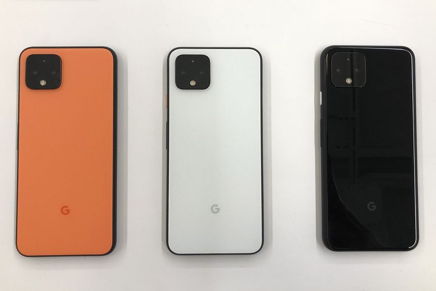 In this Tuesday, Sept. 24, 2019, photo new Pixel 4 phones are displayed at Google in Mountain View, Calif.