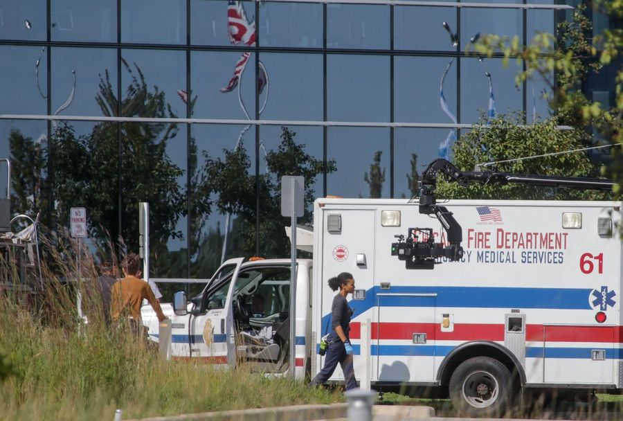 "Scenes for the ""Chicago Fire"" television series filmed at the Zurich North America headquarters in Schaumburg in August will be broadcast Wednesday, Oct. 16, on NBC."