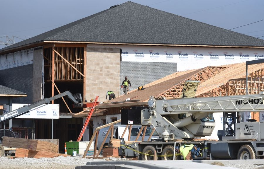 Work continues Tuesday at the new Winchester House skilled nursing home under construction on Route 45 in Mundelein. The new building will replace the Winchester House in Libertyville, which started in the 1800s as the Lake County poor farm.