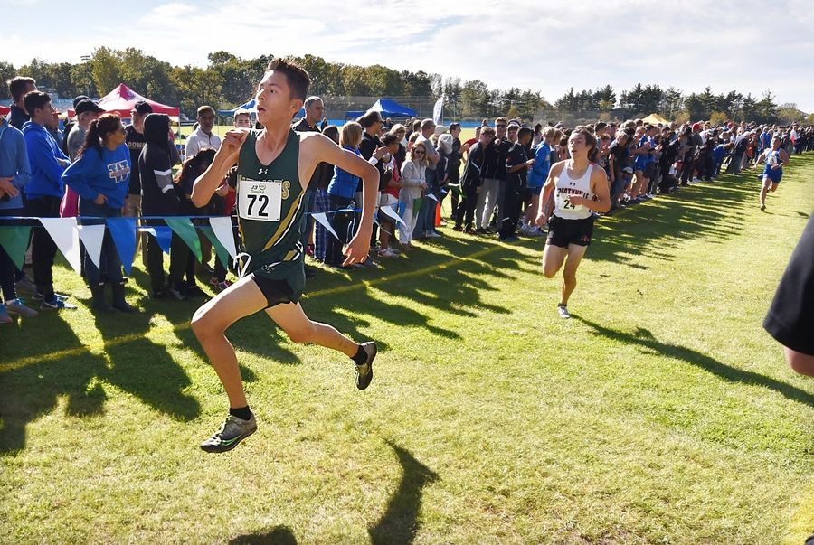 Stevenson's Anthony Rodriguez sprints to a fourth-place finish in the North Suburban Conference cross country meet at Lake Forest High School west campus Saturday.
