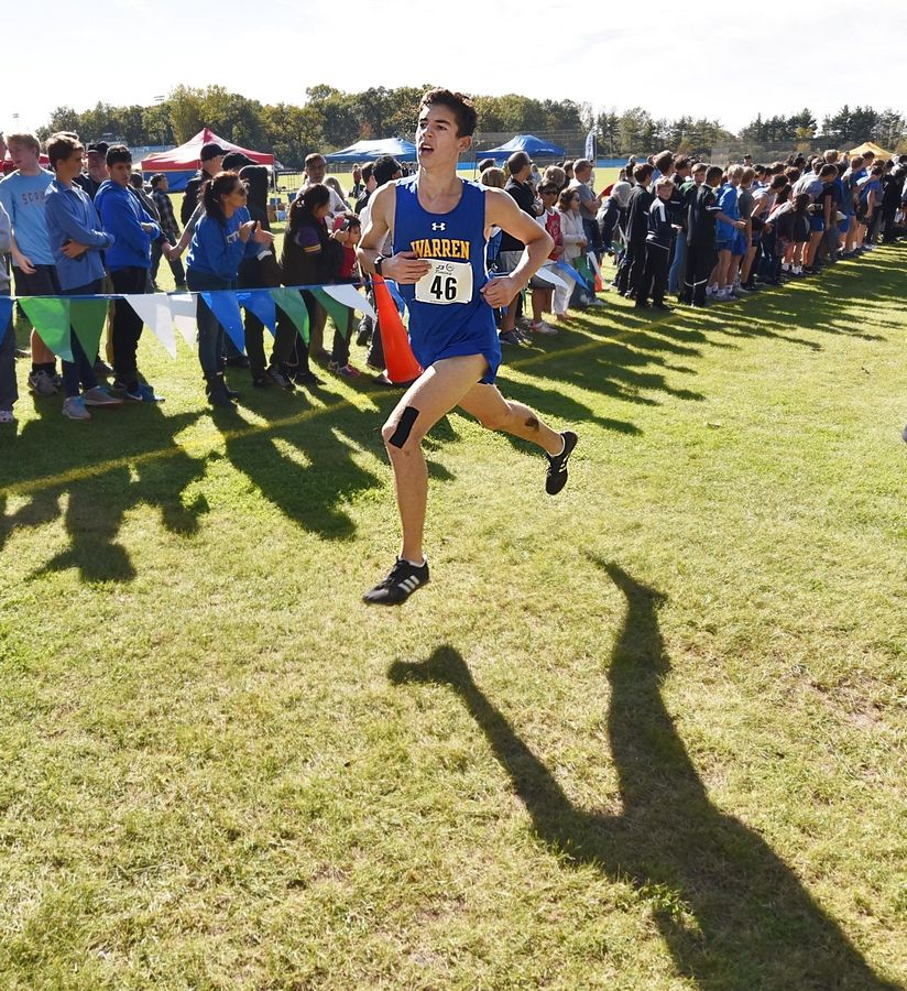Warren's Griffin Parsha finishes in ninth place at the North Suburban Conference cross country meet at Lake Forest High School west campus Saturday.