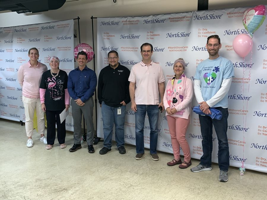 "Managers at NorthShore Care Supply who participated in the first ""Pie in the Face"" event to raise breast cancer awareness include, left to right: Jyll Rademacher, Kelly Hertel, Simon Pestell, Yutaka Takaki, Adam Greenberg, Crystal Knepper and Dave Rose.Juliana Pacheco"