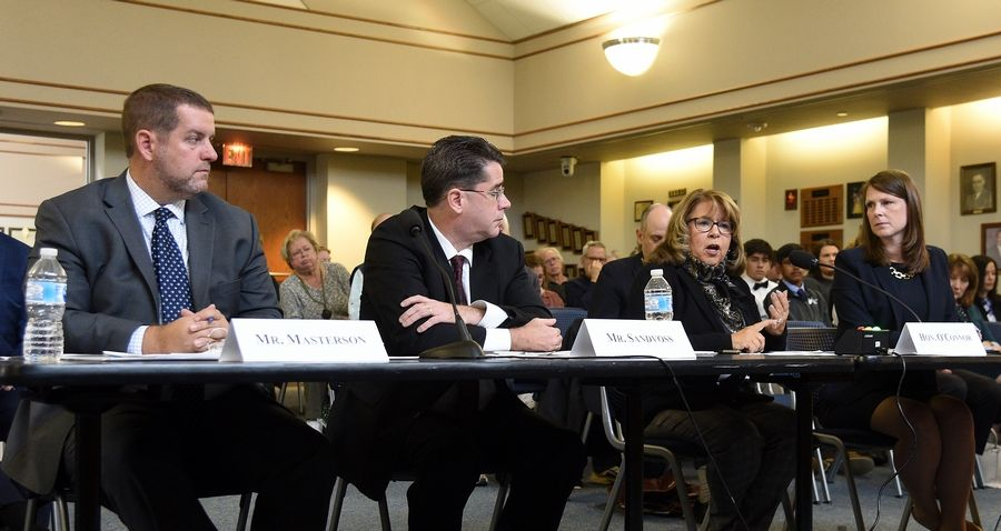 Lake County Clerk Robin O'Connor answers a question during Tuesday's Committee on Homeland Security public field hearing in Gurnee on Illinois election security.