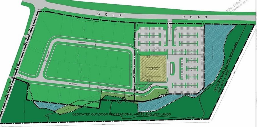 An early site plan for the Hindu nonprofit Shree Umiya Mataji Mandir KPS Chicago Midwest's proposal to build 34 retirement homes and a wellness center at the southeast corner of Golf and Rohrssen roads on unincorporated land neighboring Hoffman Estates. The homes would be built along the proposed ring road in the center.