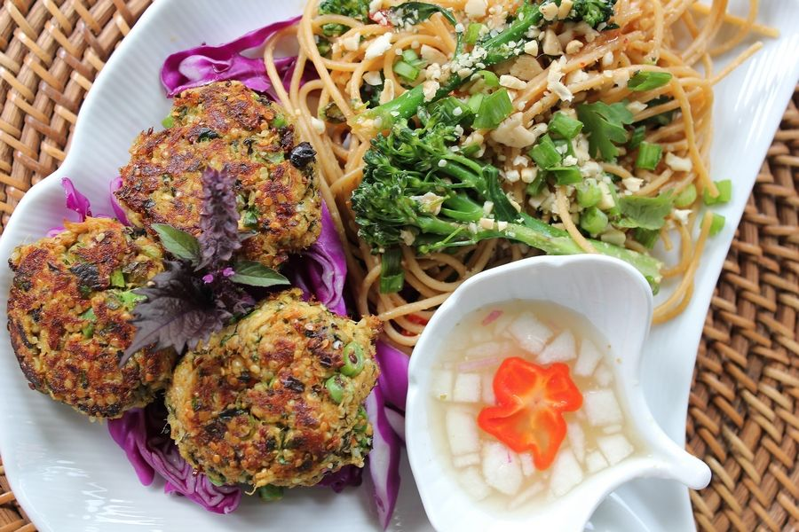 COURTESY OF Leslie MeredithFor the second entry in the 2019 Cook of the Week Challenge, Leslie Meredith made Thai Fish Cakes (Tod Man Pla) with Cucumber Dipping Sauce and Broccolini Pad Thai