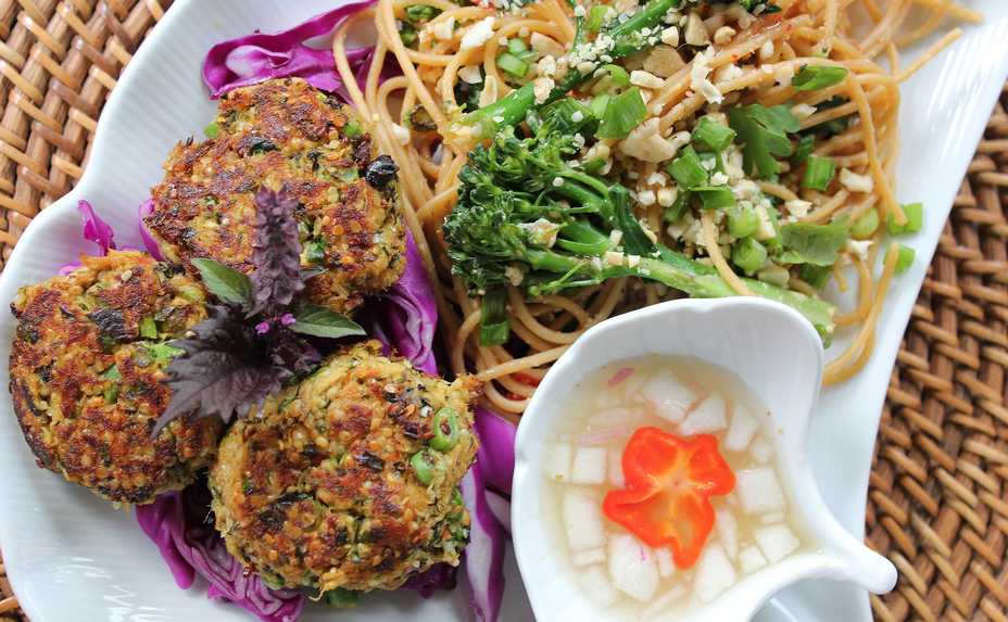 COURTESY OF Leslie Meredith For the second entry in the 2019 Cook of the Week Challenge, Leslie Meredith made Thai Fish Cakes (Tod Man Pla) with Cucumber Dipping Sauce and Broccolini Pad Thai