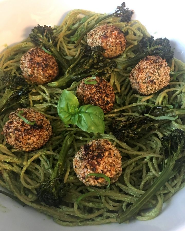 Ann Wayne made Spaghetti & Fishballs with roasted broccolini in a pesto sauce for her second entry in the 2019 Cook of the Week Challenge.