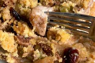 The cornbread creates a sort-of crumble top to the pork chops and apples and helps keep the meat moist.