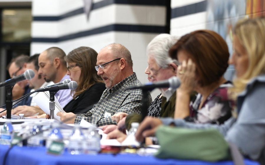 Members of the Itasca plan commission listen Wednesday during a meeting at Lake Park High School's west campus in Roselle.