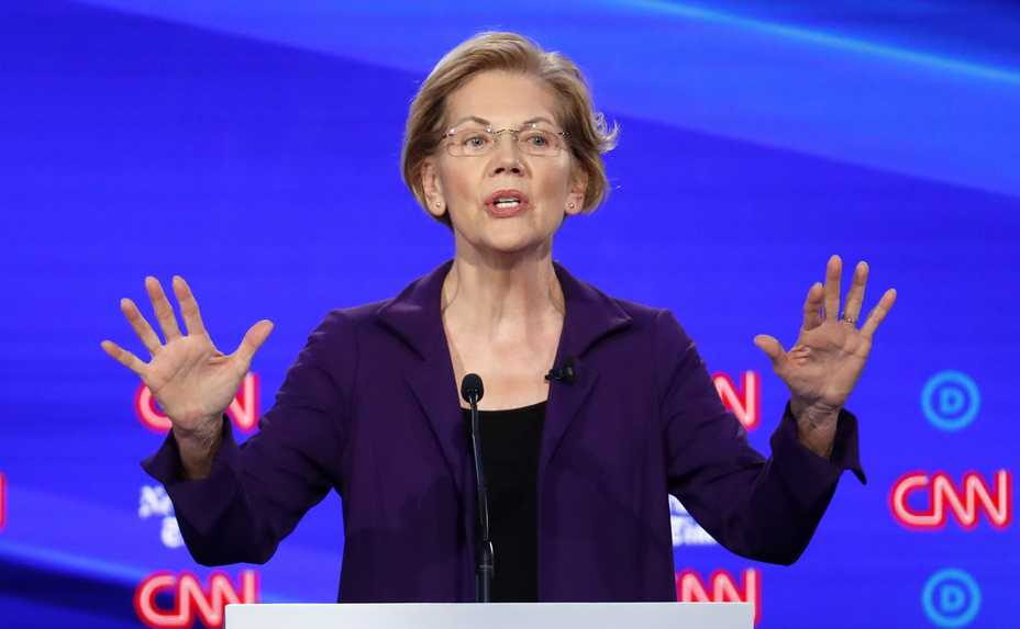 Democratic presidential candidate Sen. Elizabeth Warren, D-Mass., speaks in a Democratic presidential primary debate hosted by CNN/New York Times at Otterbein University, Tuesday, Oct. 15, 2019, in Westerville, Ohio.
