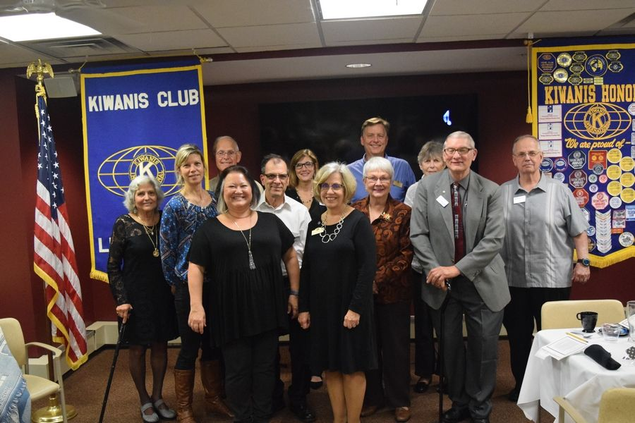 Members (from left) 1st Row: Anna Graham, Connie Barczsz, 2nd Row: Irene Williams, Cindi Stoffel, Dennis Dean, June Goss, Dale Hale, and Jim Paetsch 3rd Row: Phil Rovang, Karen Starcevic, Ken Strom and Donna Atkinson enjoy an evening celebrating the 25th Anniversary of the Kiwanis Club of Lindenhurst/the LakesMarty Stoffel