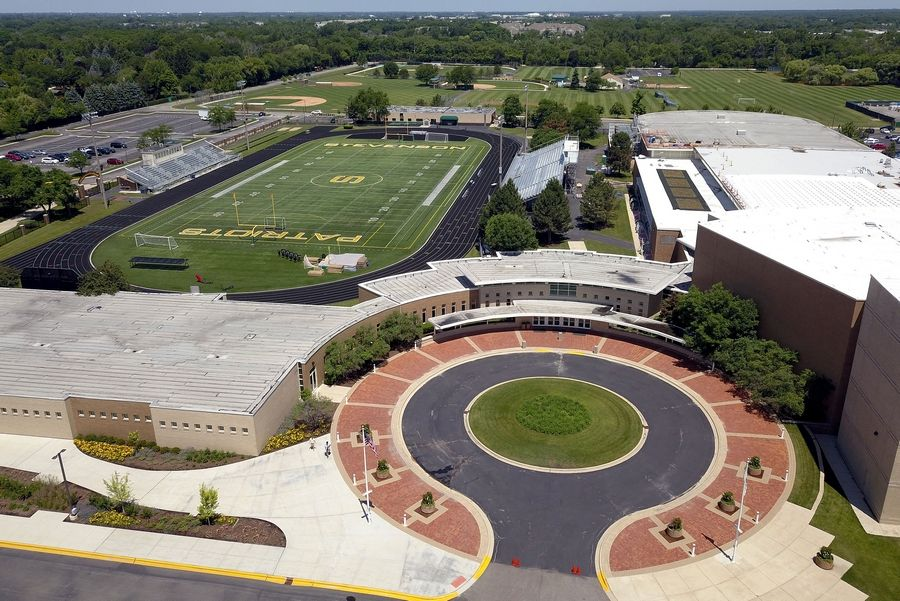 Stevenson High School officials are considering expanding the athletic field house, which is part of the East Building on the right.