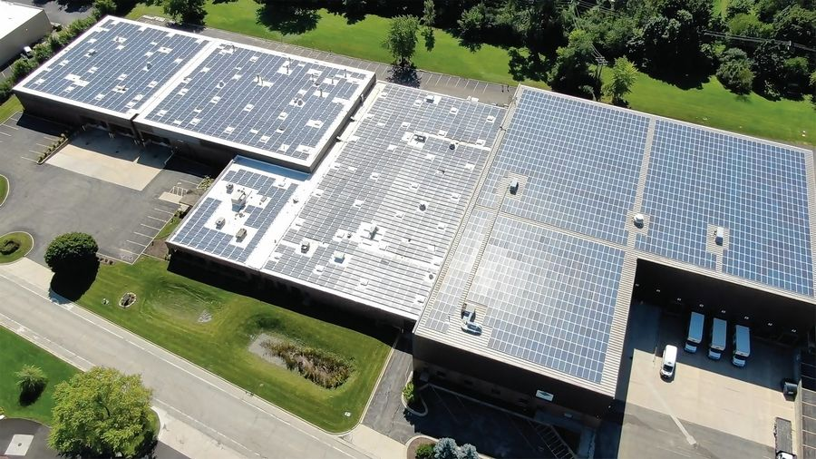 Elgin's Rainy Solar is the first community solar project in Illinois. It consists of 3,730 solar panels on the roof of a 120,000-square-foot commercial building at 1111 Davis Road in Elgin. A dedication ceremony for the project took place Thursday.