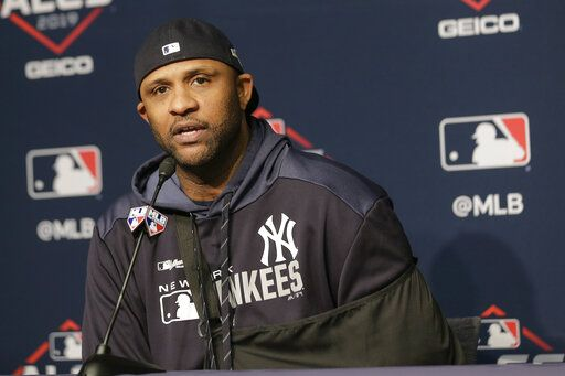New York Yankees pitcher CC Sabathia answers questions during a news conference before Game 5 of baseball's American League Championship Series against the Houston Astros, Friday, Oct. 18, 2019, in New York.