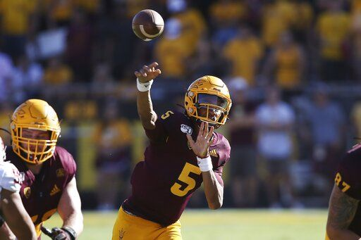 Arizona State quarterback Jayden Daniels (5)  passes against Washington State during the second half of an NCAA college football game Saturday, Oct. 12, 2019, in Tempe, Ariz.