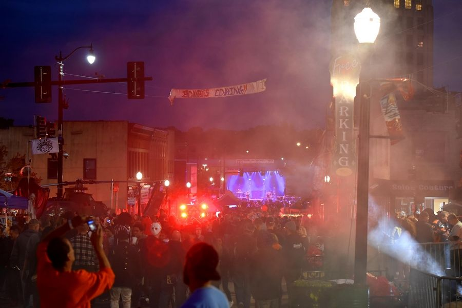 Live music played at the end of streets during the annual Nightmare on Chicago Street festival in Elgin Saturday.