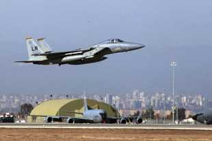 FILE- In this Dec. 15, 2015, file photo, A U. S. Air Force F-15 fighter jet takes off from Incirlik Air Base near Adana, Turkey. Frayed U.S. relations with Turkey are raising a sensitive question rarely discussed in public: Should the United States remove the nuclear bombs it keeps at a Turkish air base? There is no known evidence that the weapons are at direct risk, but President Donald Trump has threatened to 'œobliterate'� Turkey's economy if it does not halt its invasion of Syria, and some American arms control experts say the bombs would be safer elsewhere. (AP Photo)