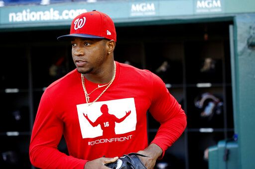 Washington Nationals center fielder Victor Robles participates in a baseball workout, Friday, Oct. 18, 2019, in Washington, in advance of the team's appearance in the World Series.