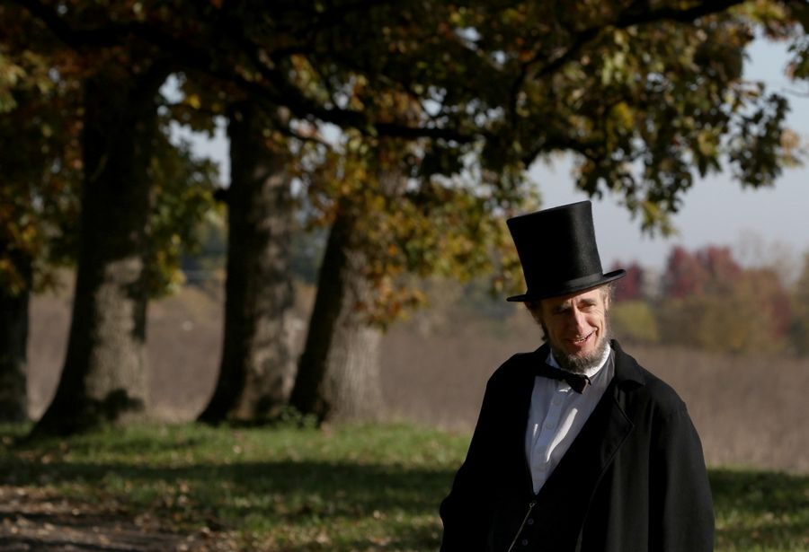 Kevin J. Wood of Oak Park portrays Abraham Lincoln on Sunday during the Civil War Encampment and Battle at the Northbrook Sports Club in Hainesville.