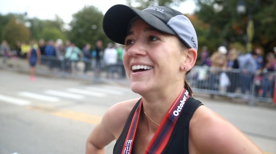 Marisa Hird of Naperville placed first in the women's division during the seventh annual Healthy Driven Naperville Half Marathon Sunday morning.