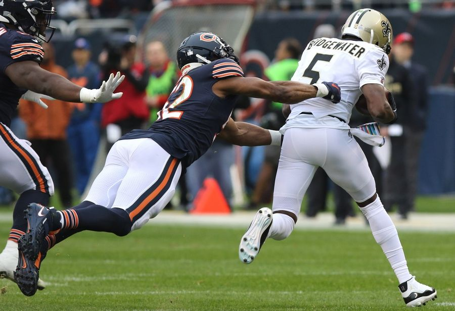 Bears linebacker Khalil Mack dives for Saints quarterback Teddy Bridgewater during their game against Sunday afternoon at Soldier Field in Chicago.