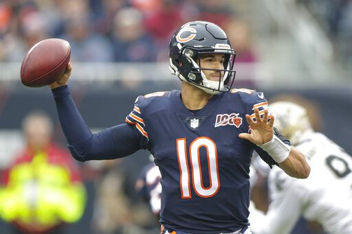 Chicago Bears quarterback Mitchell Trubisky (10) throws during the first half of an NFL football game against the New Orleans Saints in Chicago, Sunday, Oct. 20, 2019.