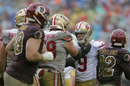 San Francisco 49ers kicker Robbie Gould (9) celebrates his successful field goal attempt with teammates in the second half of an NFL football game against the Washington Redskins, Sunday, Oct. 20, 2019, in Landover, Md. San Francisco won 9-0.