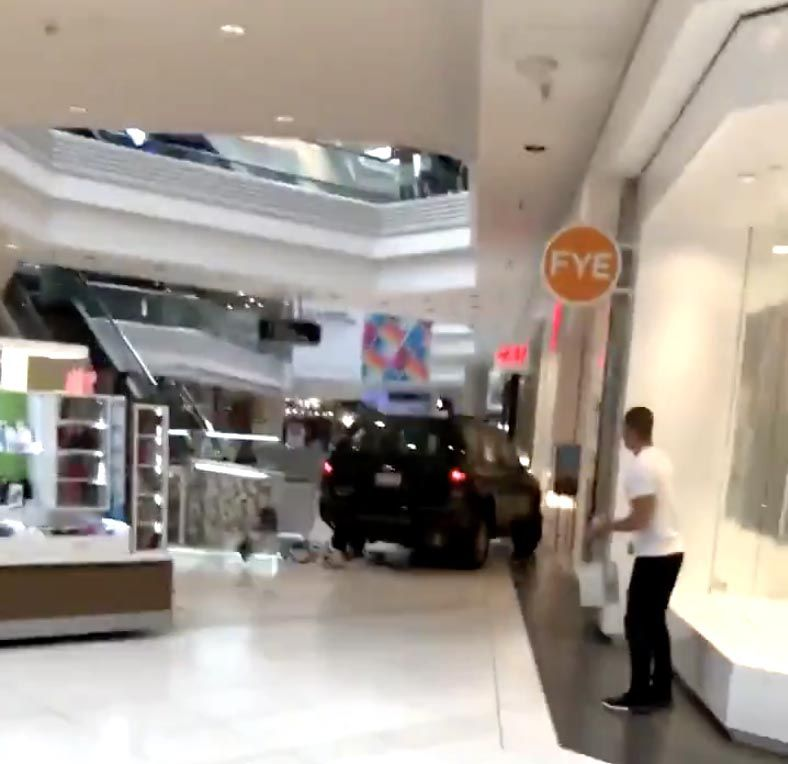 This is a frame grab taken from Twitter user Ronin Diedenhofen's captured video he made as an SUV drove through Woodfield Mall in Schaumburg on Sept. 20.