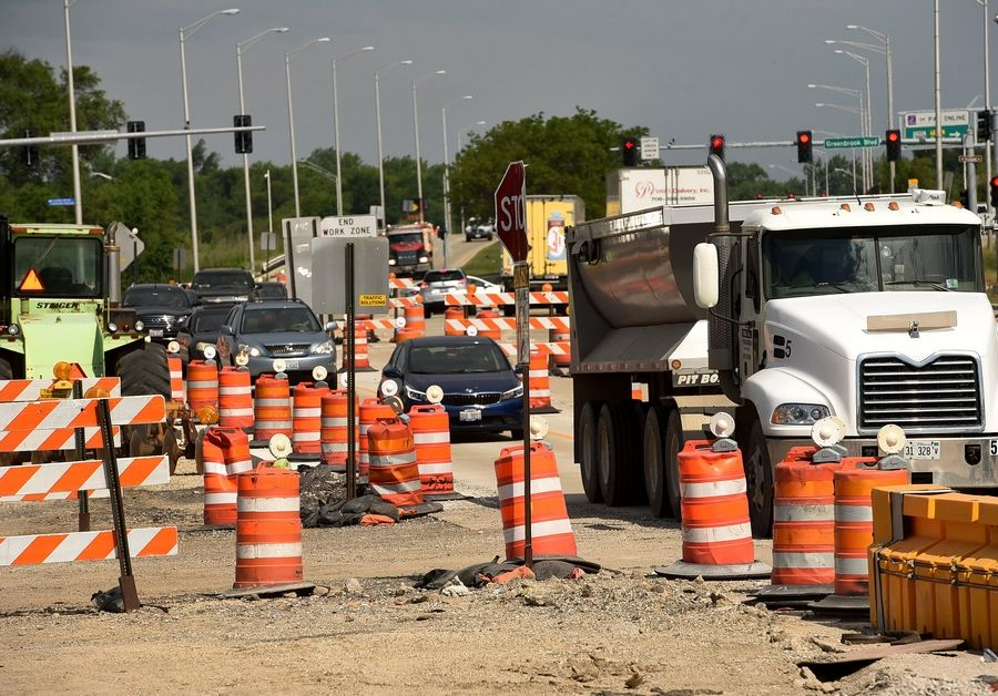 A ramped up Illinois road- and bridge-building plan will mean more construction cones but better roads and more jobs, Gov. J.B. Pritzker says.
