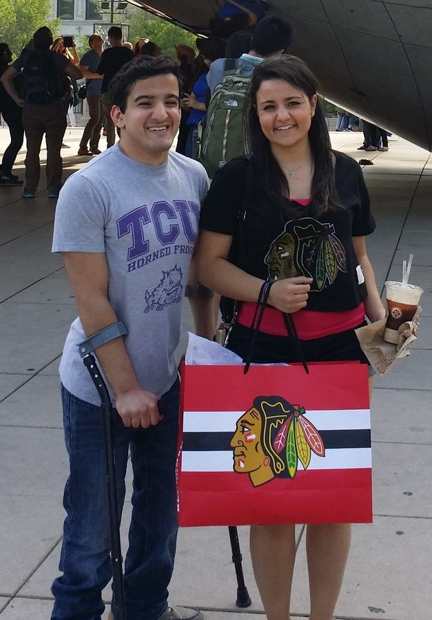 "The photo is of my younger brother, Cristian Migliarese (left), and I, Jaclyn Migliarese (right), downtown Chicago in front of ""The Bean"" in June 2015. We are both 21 year residents of 6 Steeplechase Drive in Hawthorn Woods, IL and are featured representing our Blackhawks pride. The purpose of the photo is to give the faces to my story.   Frank Joseph Migliarese Sr."